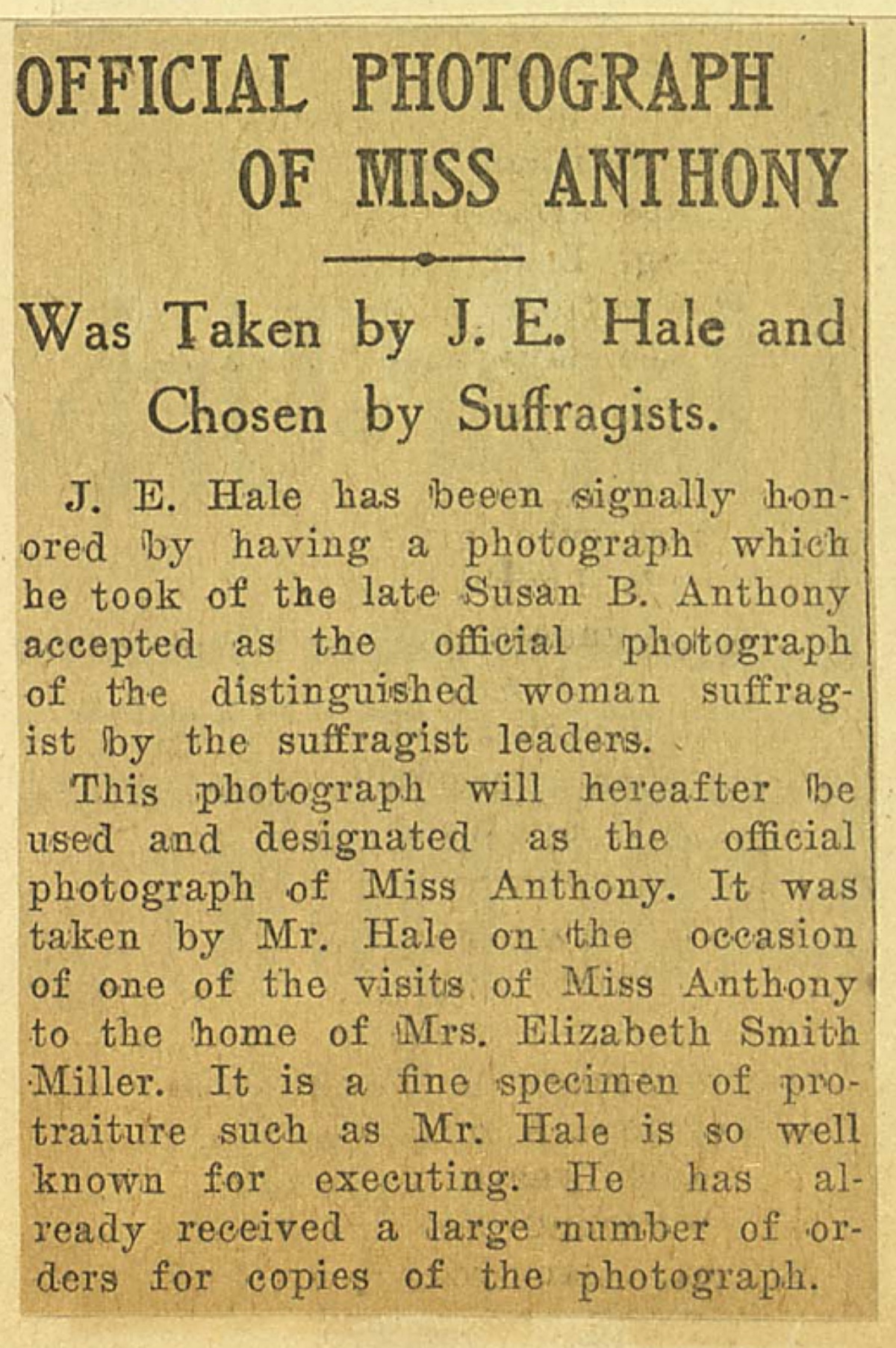 newspaper clipping about Susan B. Anthony photo by J.E. Hale