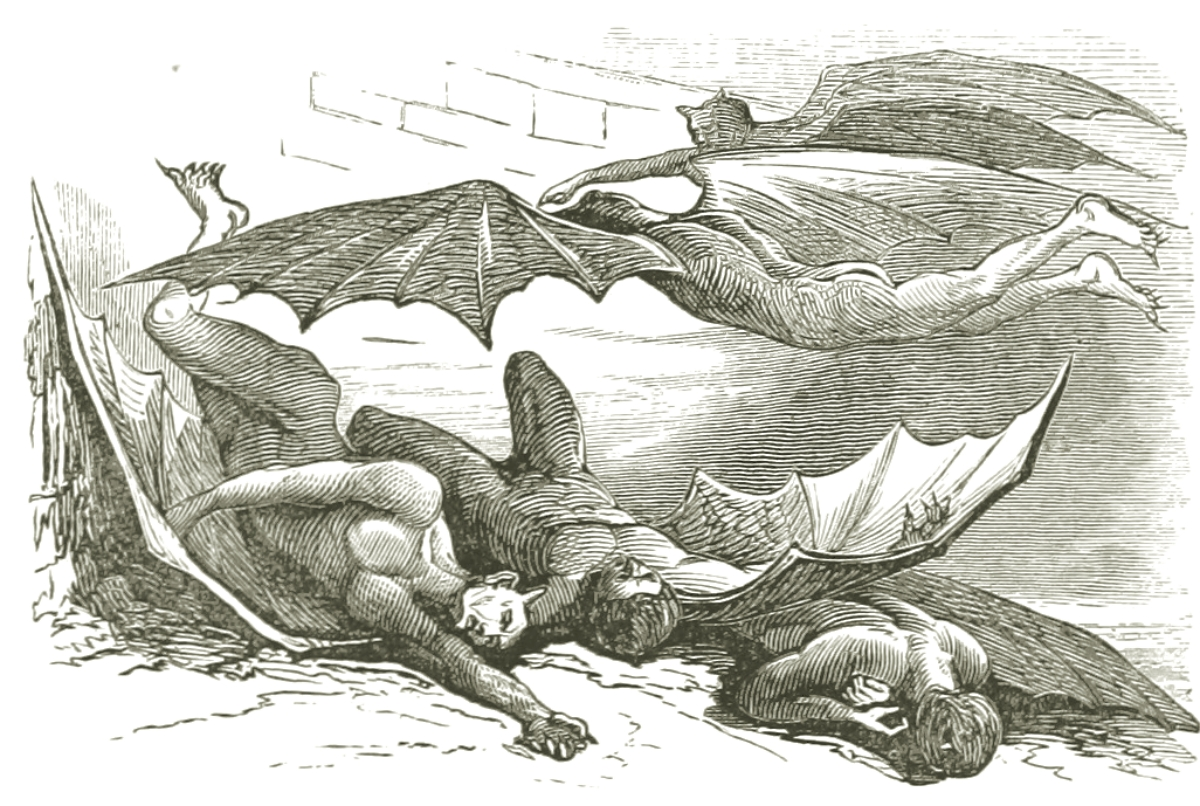 engraving of a group of vampires from 1869