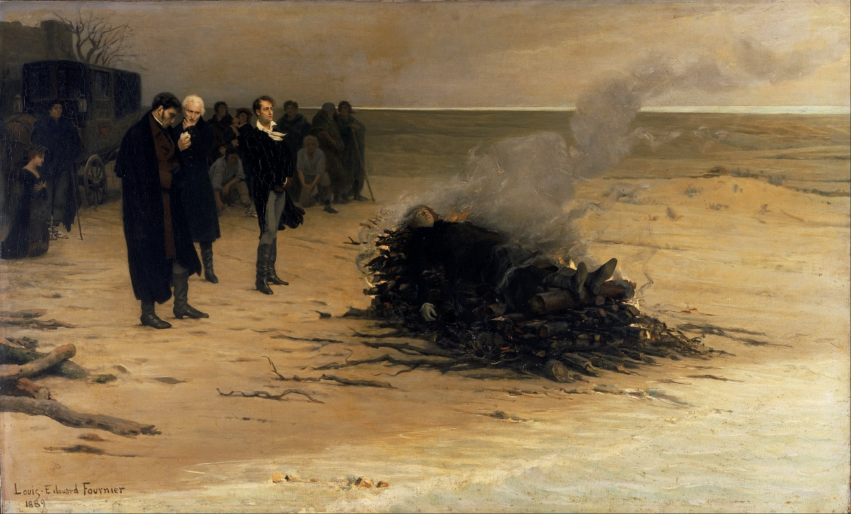 painting of the funeral pyre of Percy Shelley
