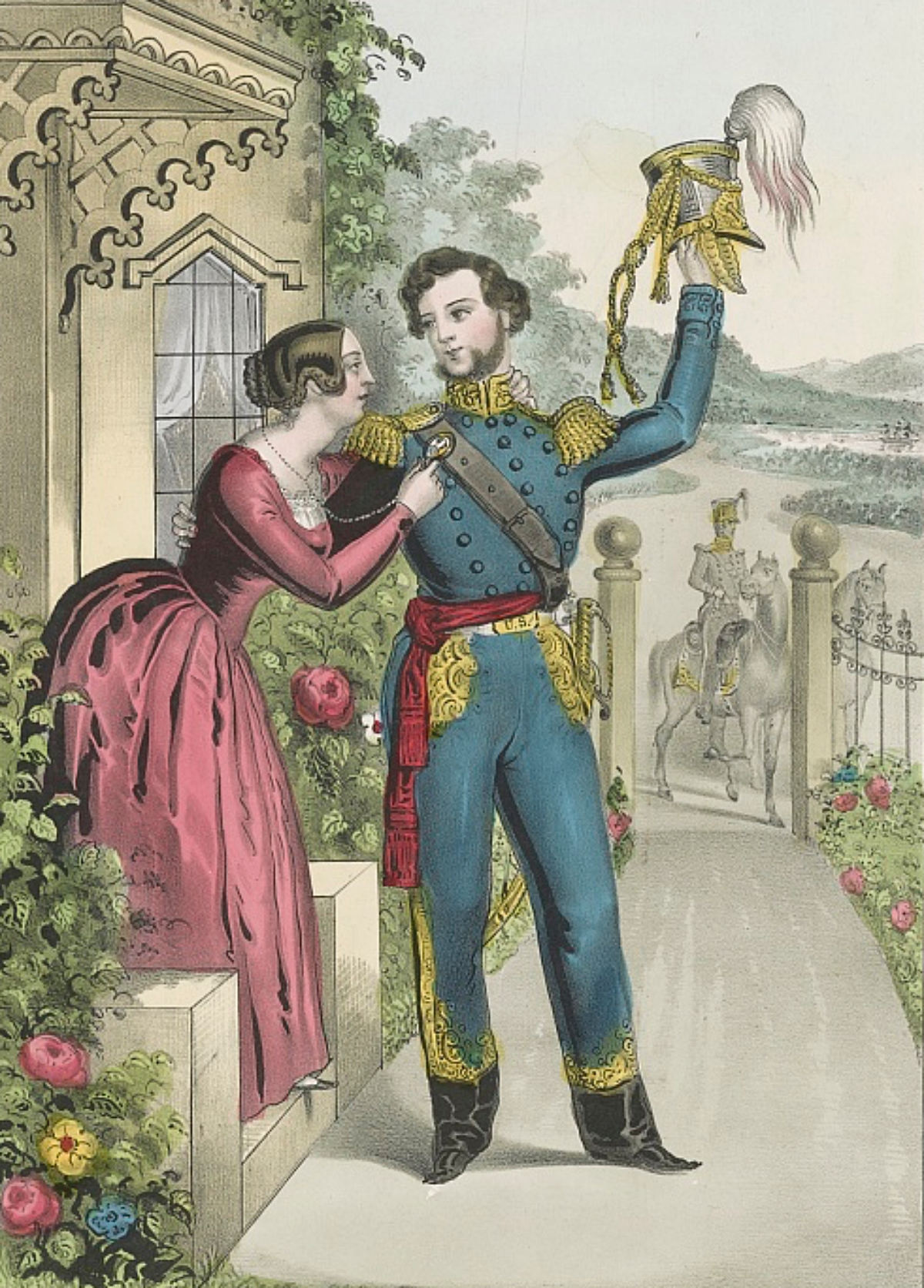 1840s print of soldier saying goodbye