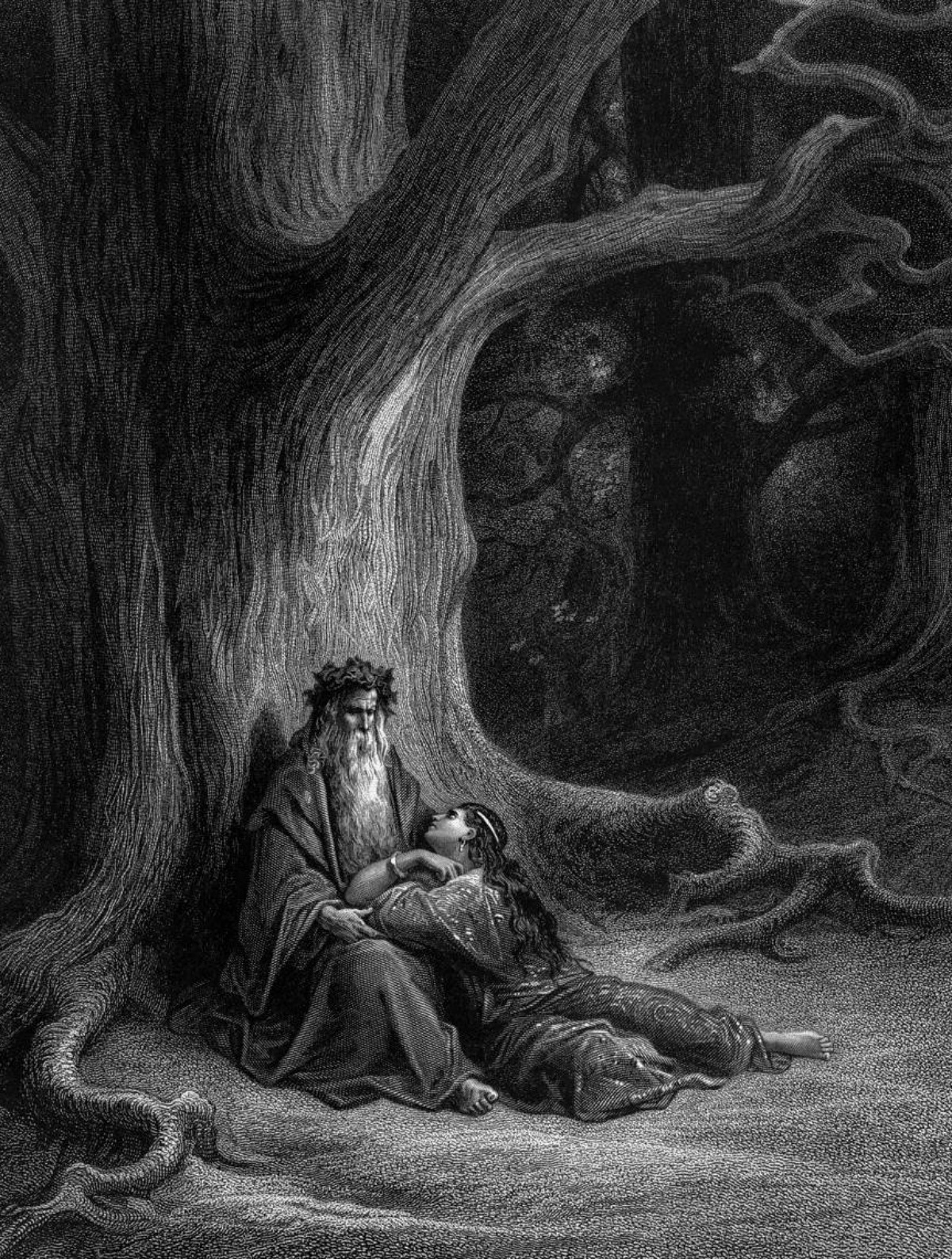 Merlin and the Lady of the Lake engraving 1868