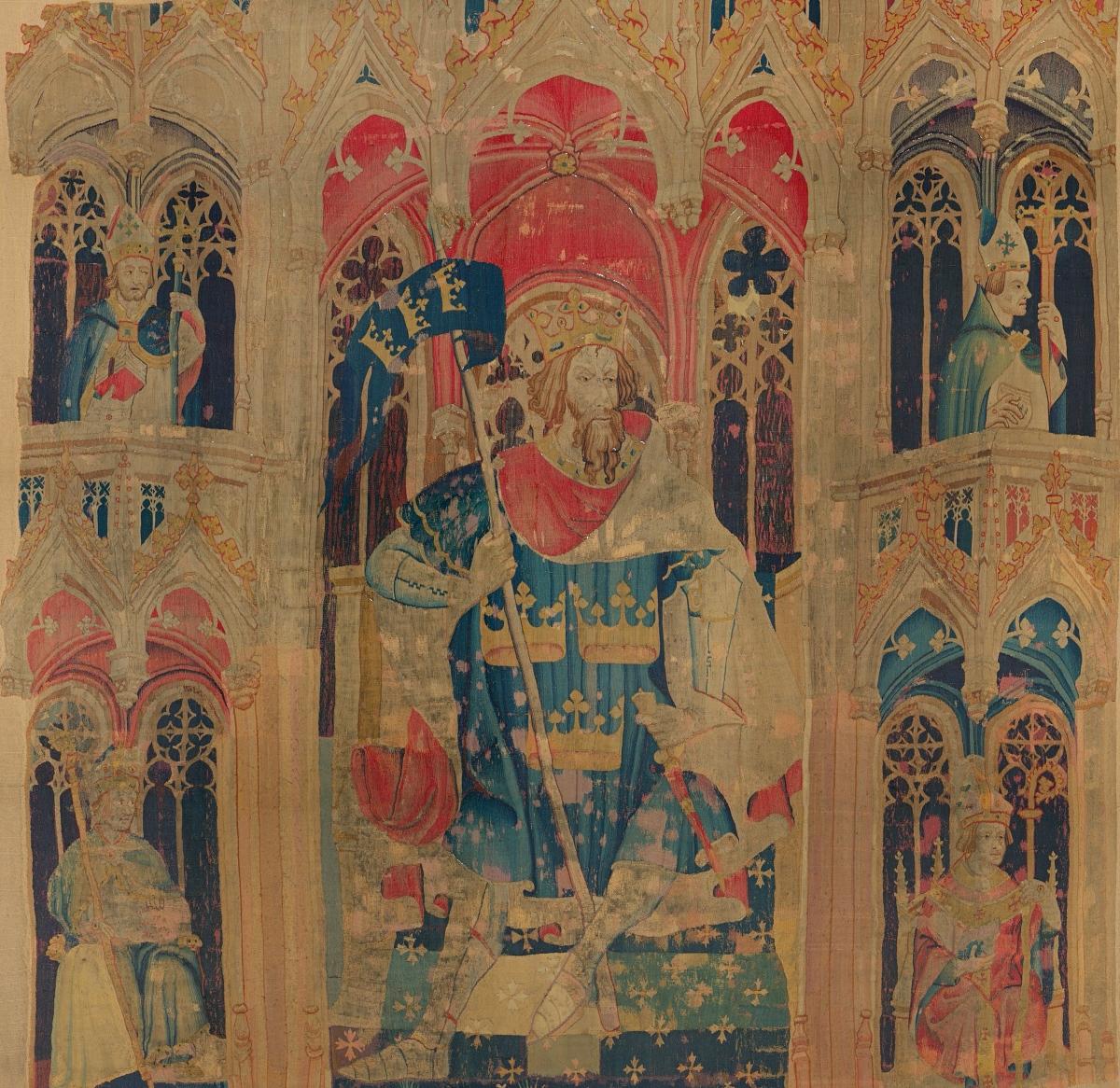15th century tapestry depicting King Arthur