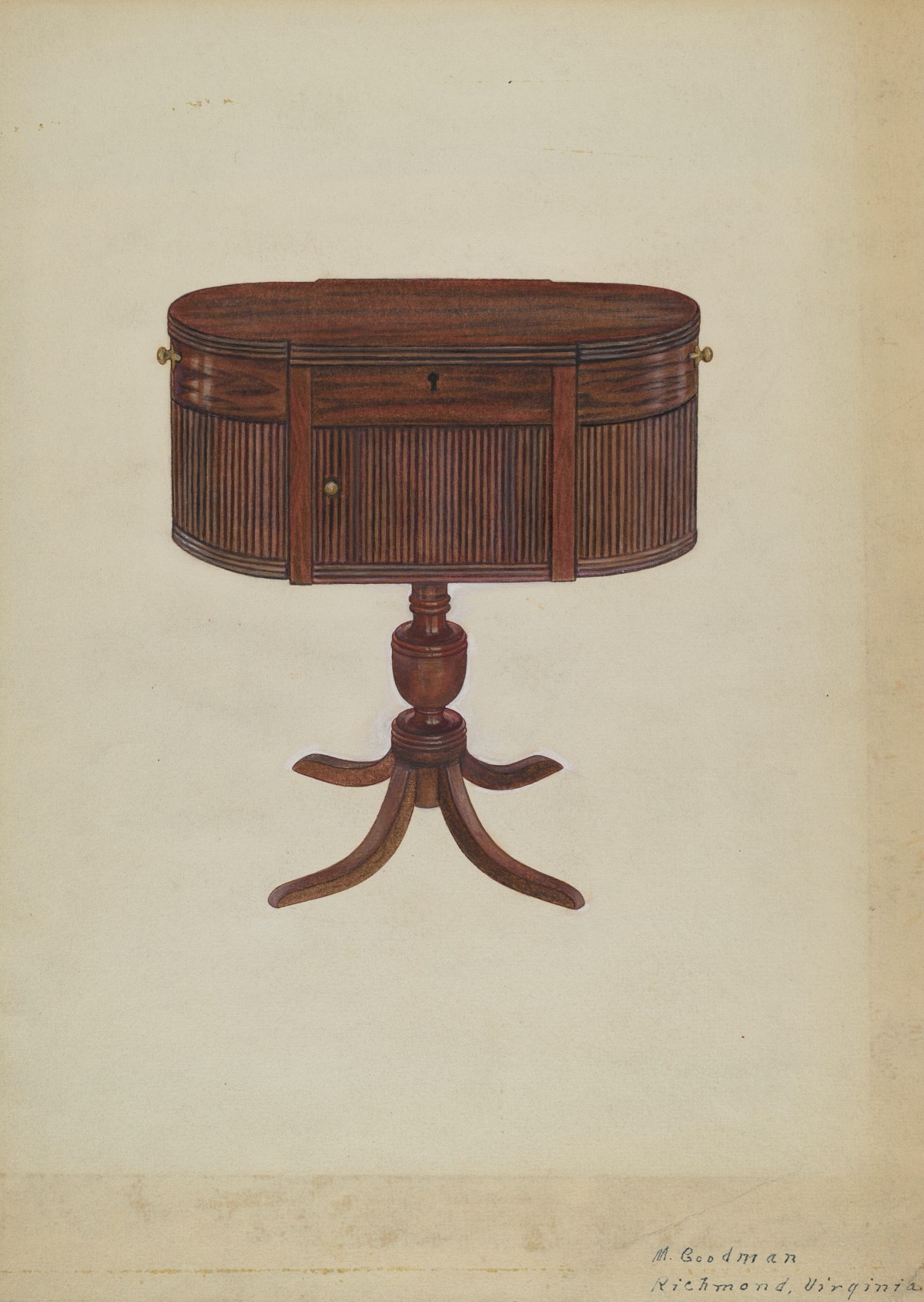drawing of Duncan Phyfe sewing table from 1815