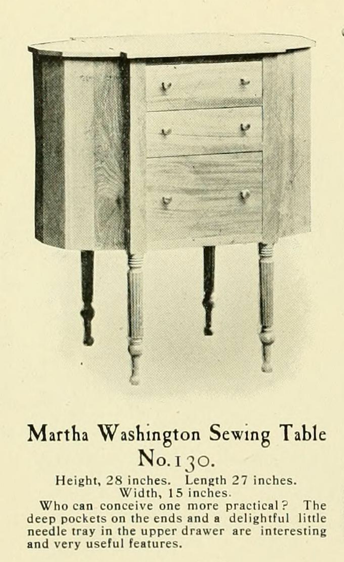1915 sewing cabinet catalog entry