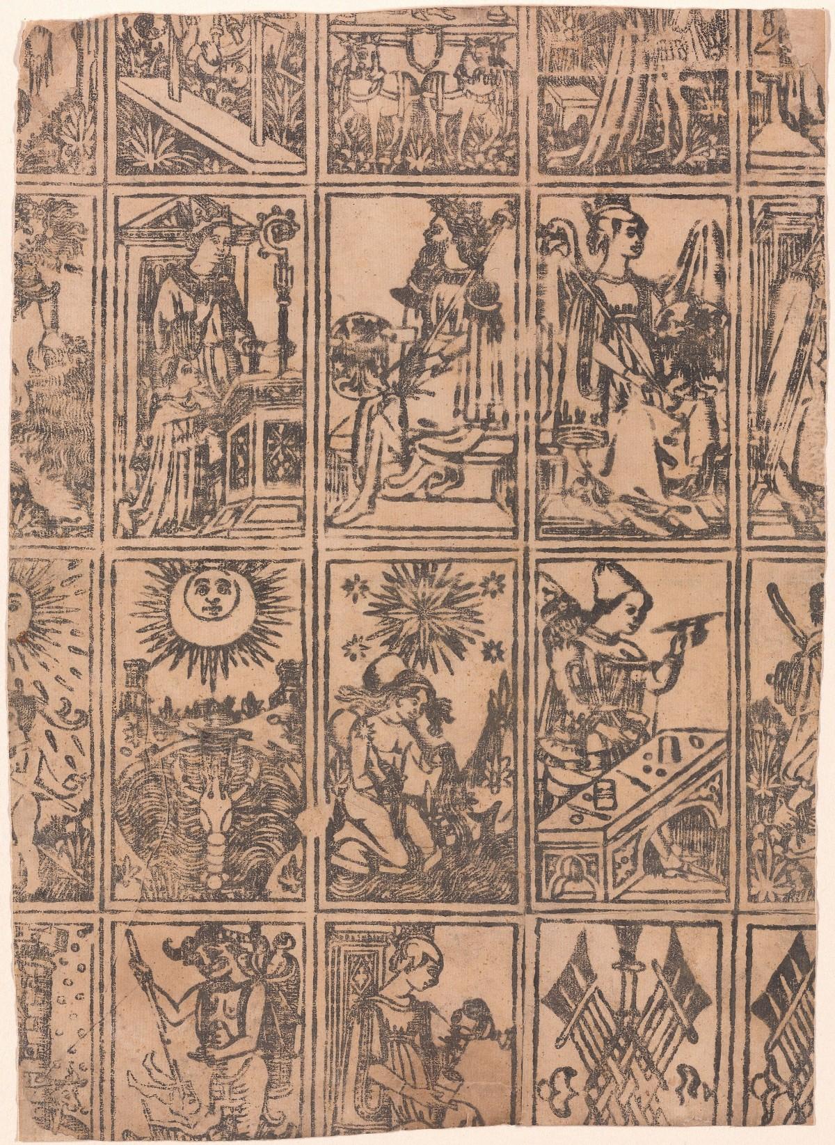 Milan 1500 tarot deck all on one sheet