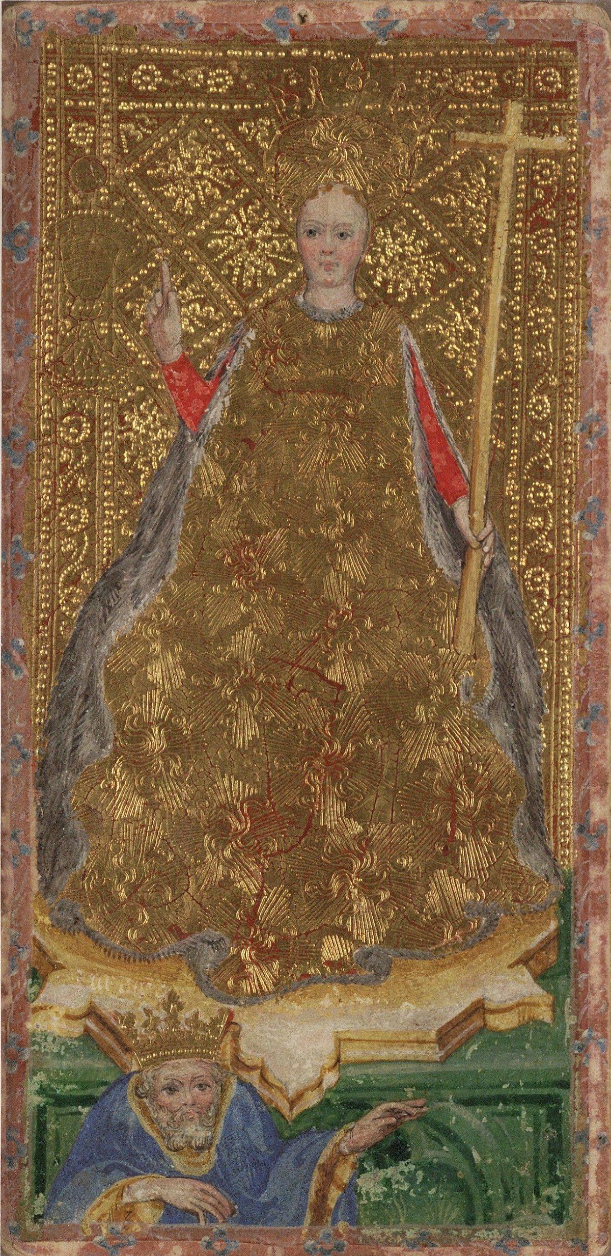 female knight tarot card from the visconti tarot deck