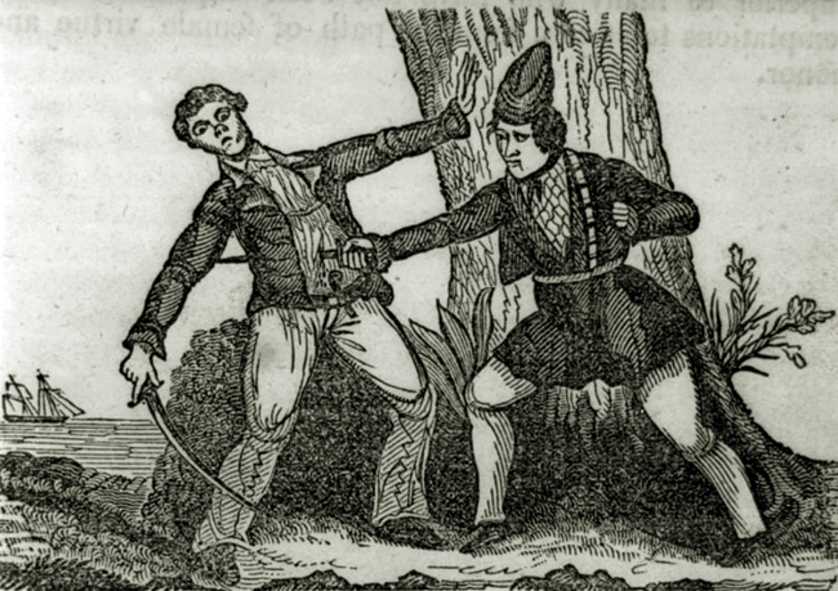 engraving of Mary Read stabbing a man