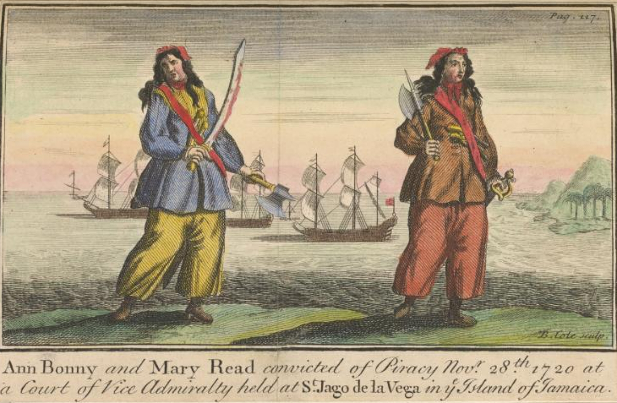 colored engraving of Anne Bonny and Mary Read