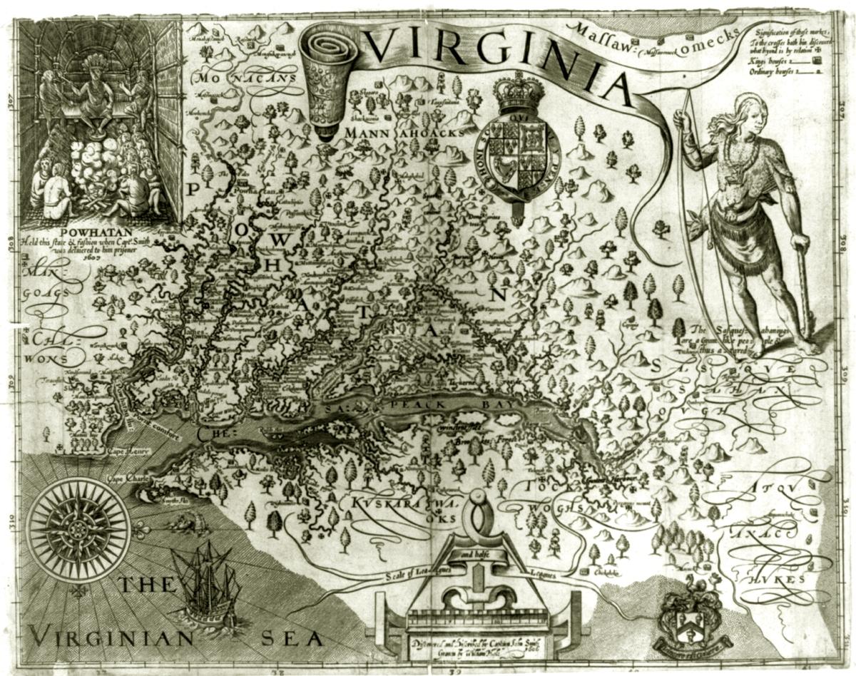 Map of Virginia coastline from 1606