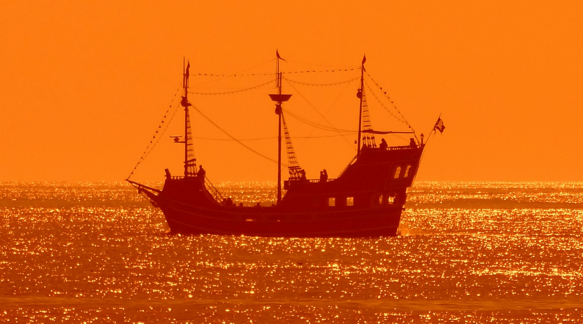 pirate ship photo against sunset
