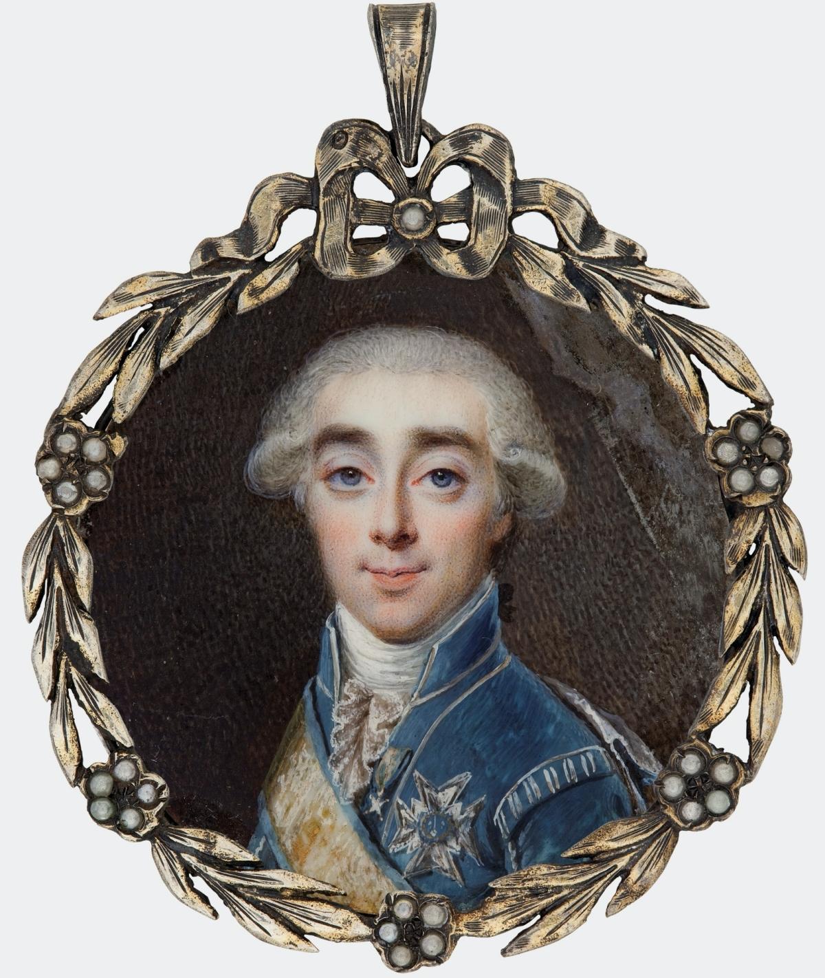 gauche on ivory miniature of Count Axel von Fersen from 1798