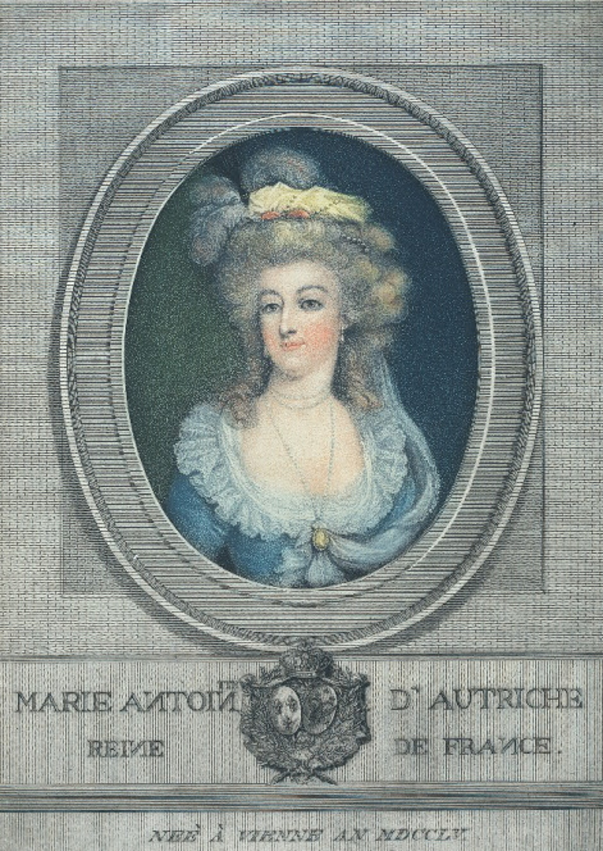 colorized engraving of Marie Antoinette