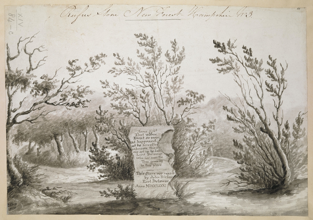 Georgian drawing of the Rufus stone of New Forest
