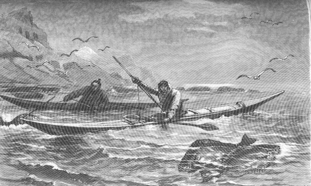 Native Americans fishing off the coast the coast of Greenland