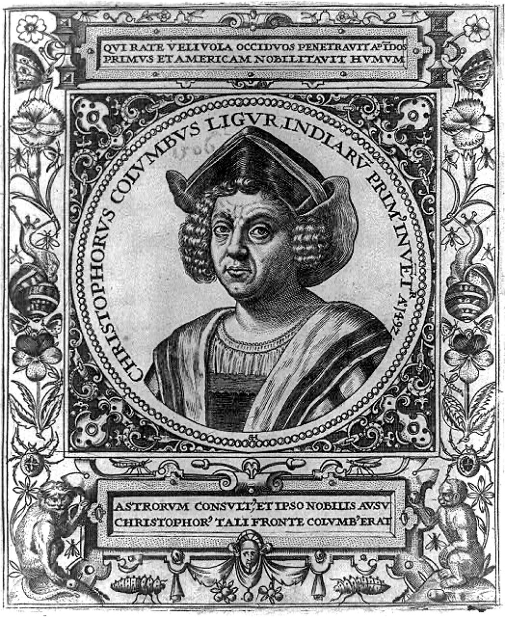 16th century engraving of Christopher Columbus
