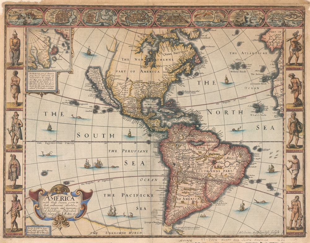 1627 map of the New World by John Speed