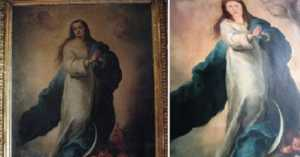 botched baroque painting from Spain of the Immaculate Conception