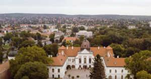 aerial view of Royal Palace of Gödöllő