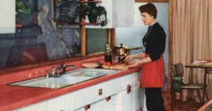 colorful 1955 model kitchen